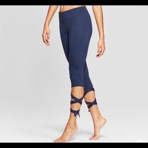 Joy lab Navy Blue tie ankle 3/4 length leggings